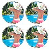 Liili Round Coasters Non-Slip Natural Rubber Desk Pads young beautiful woman in straw hat relaxing in spa pool 28797868