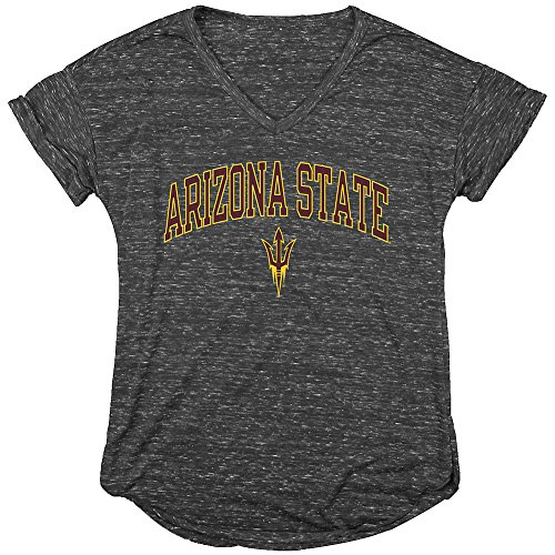 Arizona State Sun Devils Womens Vneck Tshirt Charcoal   M