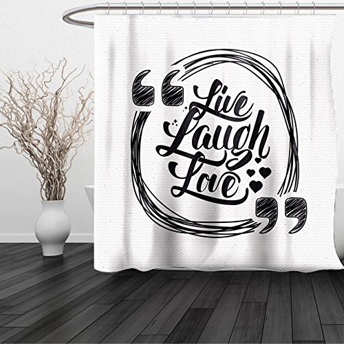 Excell Nickel Shower Curtain Hooks (HAIXIA Shower Curtain Live Laugh Love Grunge Stylized Modern Lifestyle Phrase Happiness Themed Design Dark Cadet Blue)