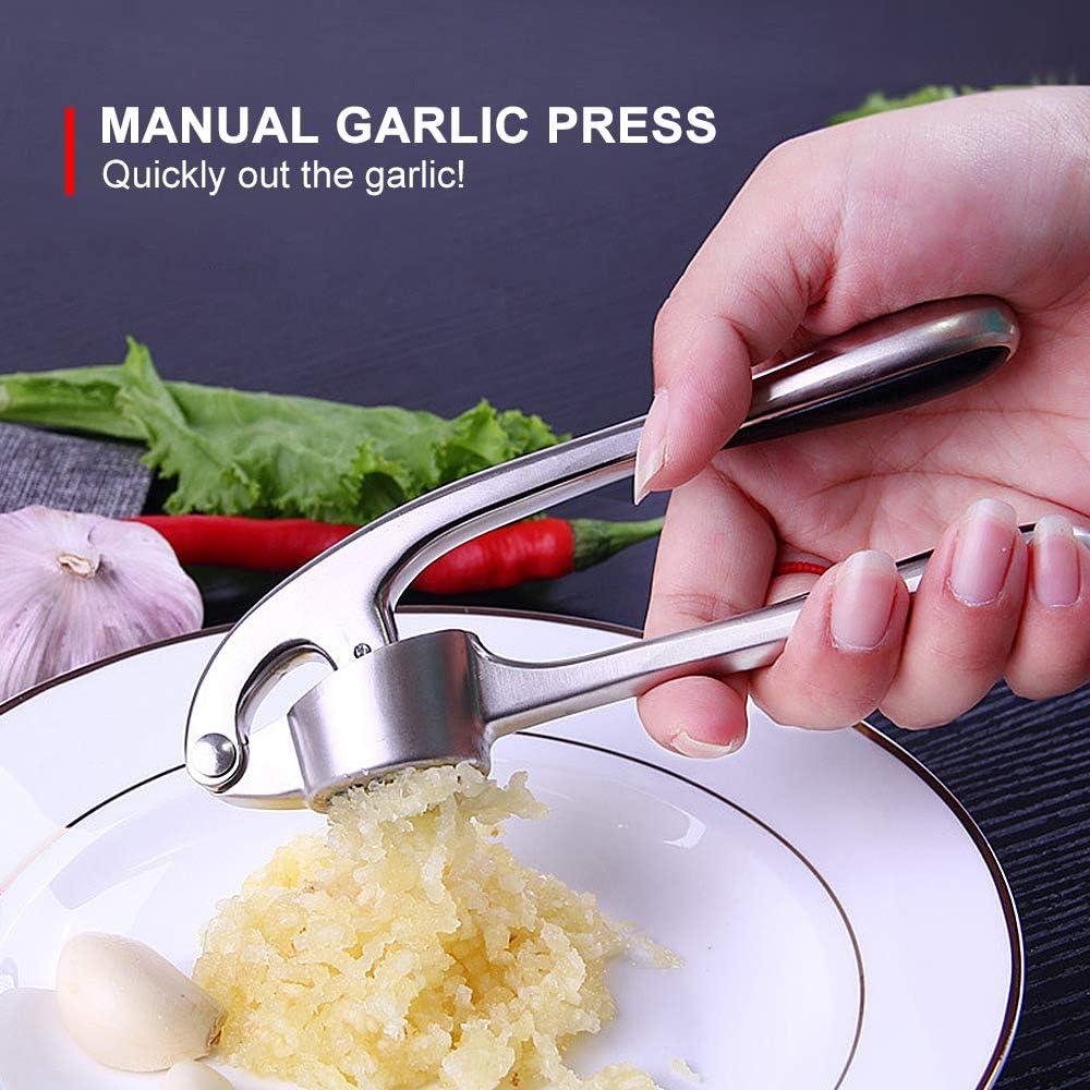 XIANGBAN Presse Ail Professionnel Garlic Press avec Ouverture Pratique /à 160 /° Grande Capacit/é Facile /à Nettoyer Poign/ée /Épaisse Antid/érapante