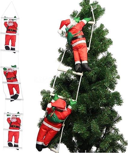 Orgrimmar Escalada Santa Claus en Cuerda Escalera Adorno de Navidad para árbol de Navidad Fiesta casa Puerta Pared decoración