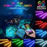 #4: Car LED Strip Light-Carantee 4pcs 48 LED Bluetooth App Controller Car Interior Lights, Waterproof Multicolor Music Underdash Lighting Kits for iPhone Android Smart Phone, Car Charger Included, DC 12V