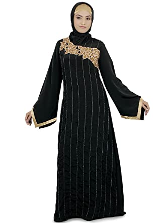 MyBatua Womens Buy Online Muslim Dress Party Wear Liba Abaya in Black (XXX-Large