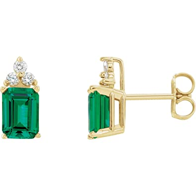 e88676f26 Image Unavailable. Image not available for. Color: Lab-Created Emerald 14k  Yellow Gold ...