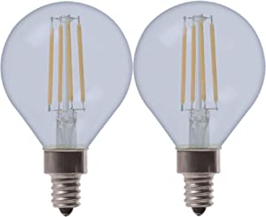 GE Lighting 31914 Clear Finish Light Bulb Reveal HD Dimmable LED Decorative G16.5 Globe 4.5 (40-Watt Replacement), 290-Lumen Candelabra Base, 2-Pack, 2 Count