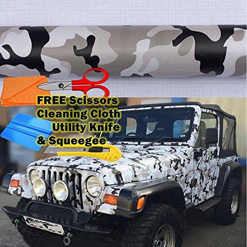 8ae3beb27ffd3f M J-AUTOPARTS Snow Camo Camouflage Vinyl Film Wrap Decal Air Bubble Free  Black White