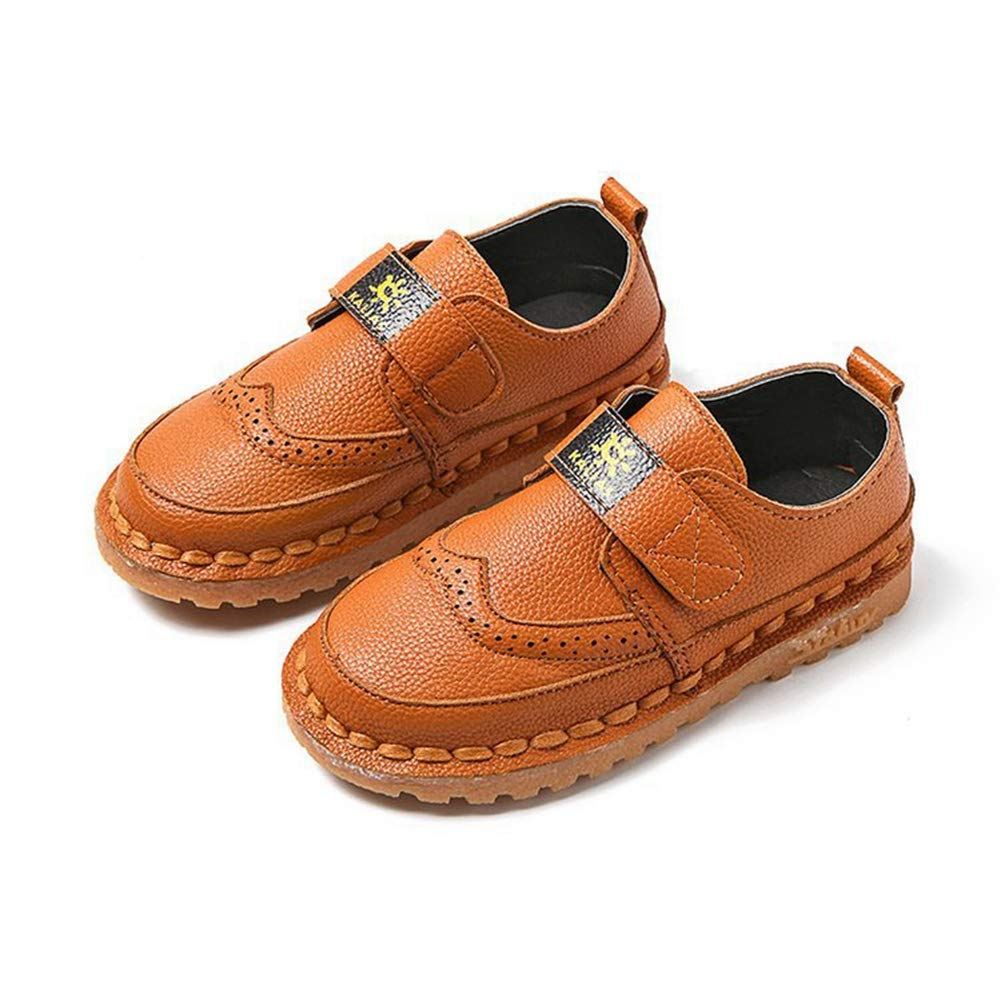 F-OXMY Toddler Little Kids Wing-Tip Brogue Oxfords Dress Shoes Boys Comfy Slip On Walking Casual Shoes Brown