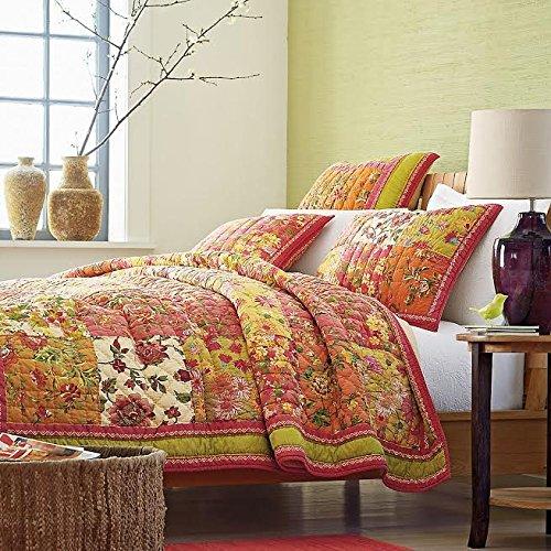 Cotton Bed of Roses Floral Quilt Bedspread Set
