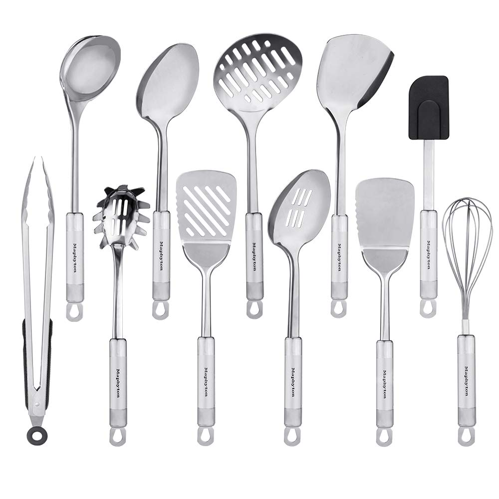 Stainless Steel Utensils, 11 Pieces Kitchen Utensil Set for Cooking with Spatula