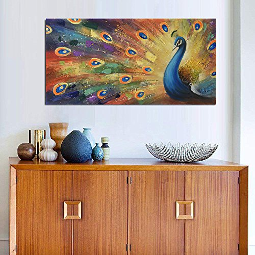 UAC WALL ARTS 100% Hand-Painted 3D Painting on Canvas Colorful Peacock Oil Painting Modern Animal Home Sitting Room Decor Canvas Wall Art Ready to Hang by UAC WALL ARTS (Image #4)