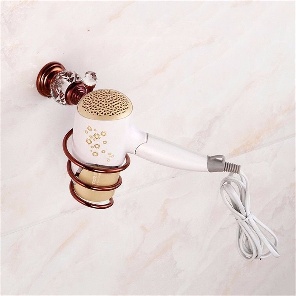 GKRY@Hair dryer Holder-Wall Mount Spiral Spring Hair Dryer Hanging Rack with Hair Straightener Vintage Rose Gold Brass Crystal Wall Mounted Bathroom with Hair Drawer durable service