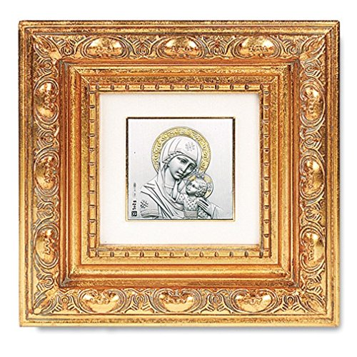 (Our Lady of Passion Silver Plated Image in Gold Leaf Resin Frame, 5 1/2 Inch)
