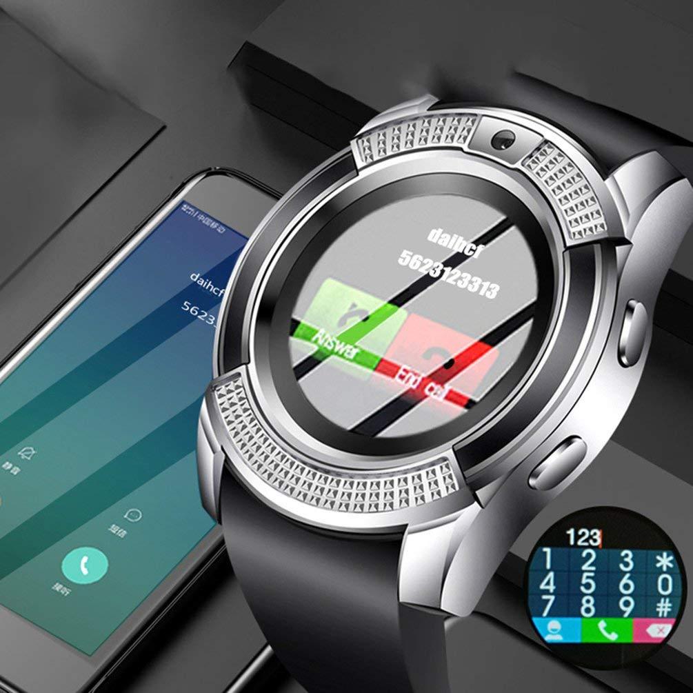 argent noir V8 1,44 pouces /écran rond montre intelligente montre de t/él/éphone de carte adulte avec cam/éra