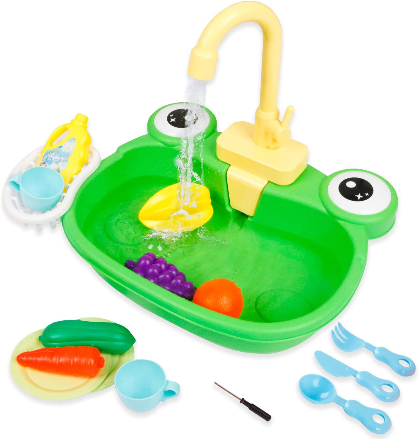 Ruibytree Play Kitchen Sink Toy, Water Toys for Kids with Electronic Dishwasher, Pretend Play Utensils Accessories and Play Cutting Food for Boys and Girls (Cute Frog)