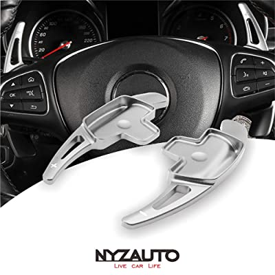 NYZAUTO Aluminum-Alloy Steering Wheel Paddle Shifter Extension Fit For Mercedes Benz A B C CLA CLS E G GL GLA GLC GLE GLS Metris S SL SLC Class(Model B-Silver): Automotive