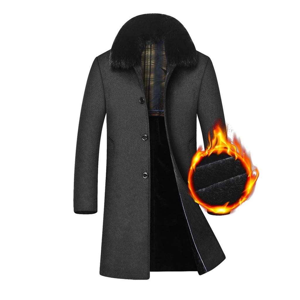 Fashionhe Mens Hair Collar Cashmere Woollen Coat Winter Casual Long Cotton Windbreaker Slim Overcoat