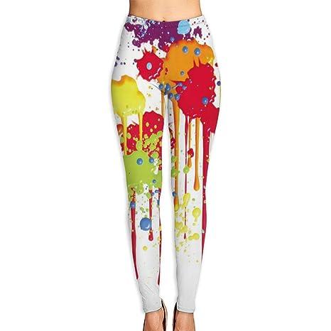 3502e185c7781 Ancharpin womens girl splatter clipart paint splash high waist casual leggings  tights yoga pants running pants