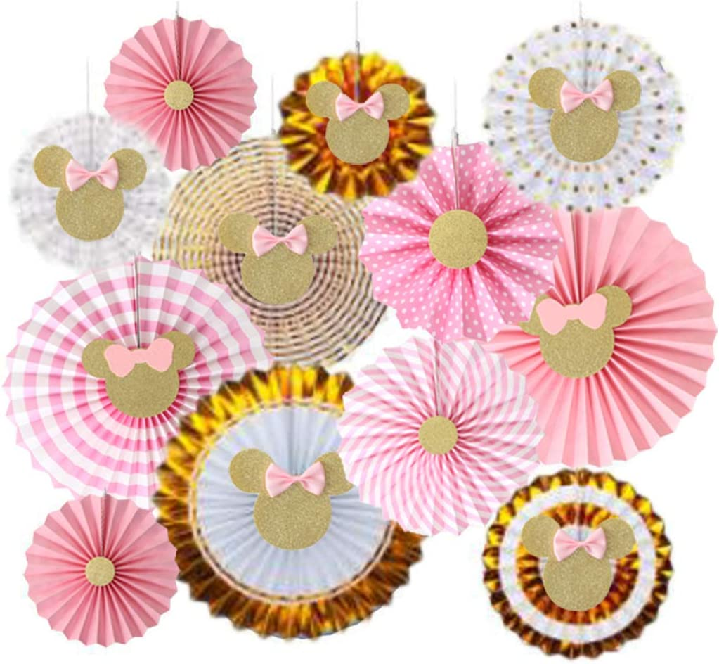 12 Pcs Pink and gold Minnie Mouse Tissue Paper Fans , pink and gold Minnie Hanging Paper Fan , pink and gold Minnie Mouse birthday decorations , Minnie Themed Party Decor,Girl Birthday Party Supplies ,Photo Props Decor, Baby Shower , Pink and Gold Party Decor