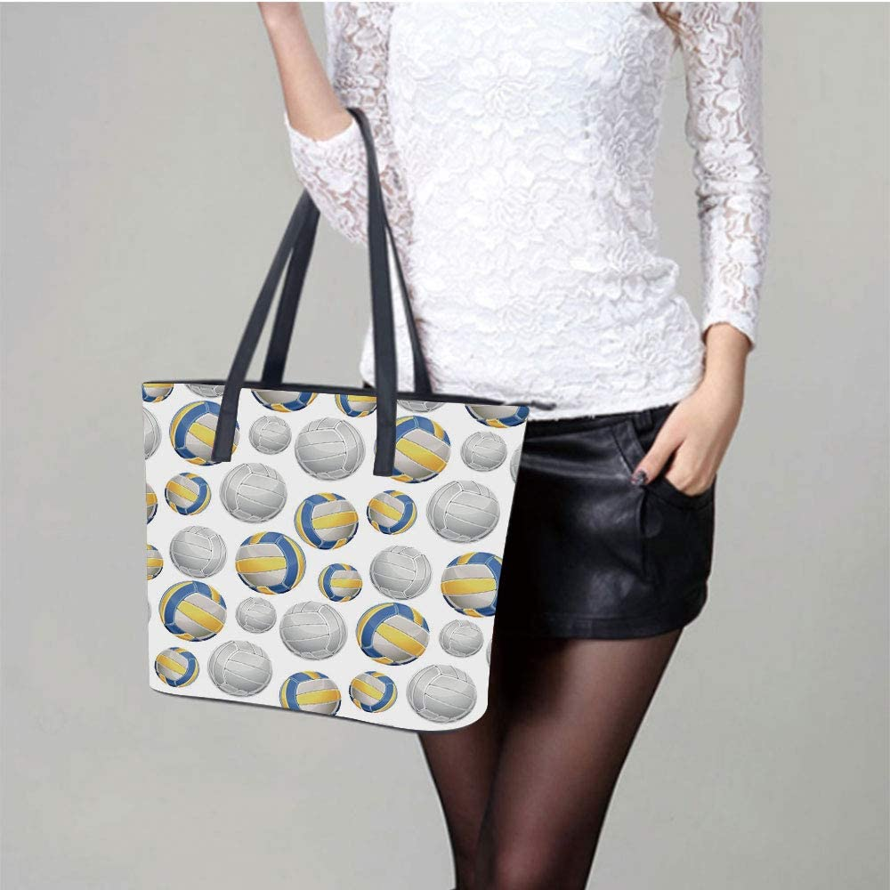 Yellow Triangles Hexagons Women Leather Laptop Tote Office Shoulder Handbag Computer Briefcase