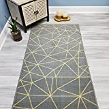 Your Choice Length Grey & Yellow Mosaic Tiles Non-Slip Rubber Backed Carpet Runner Rug | 22-inch x 6-feet