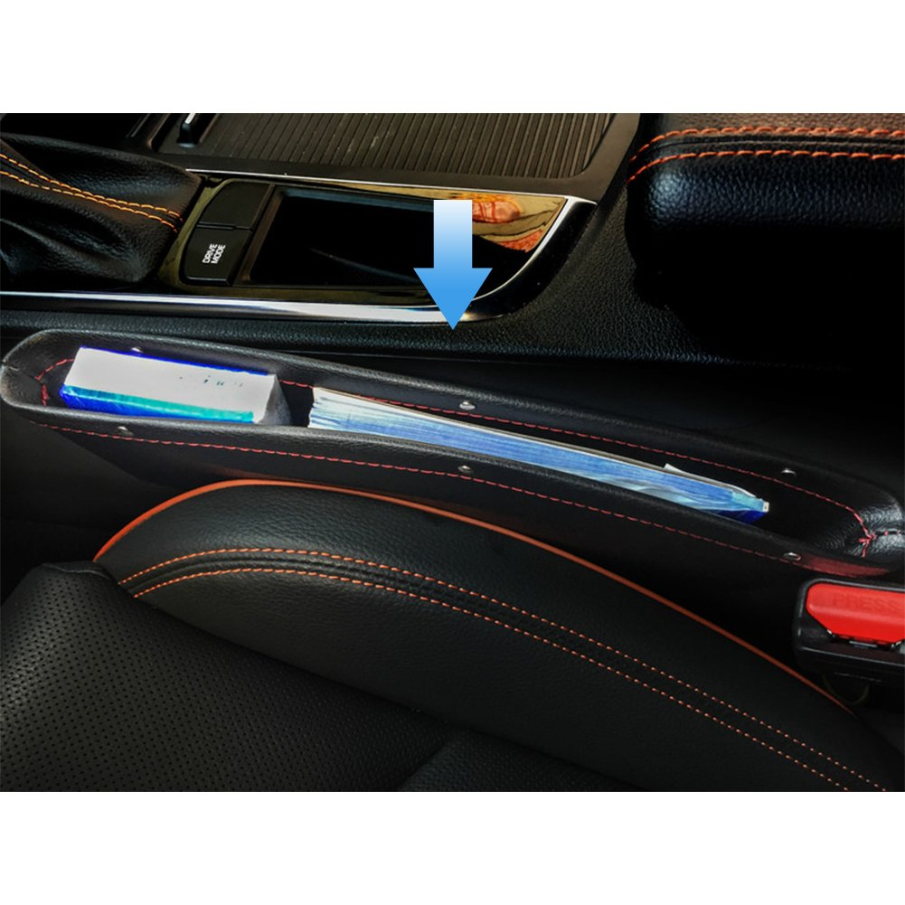 DKPO 2 Pack Car Seat Gap Filler,Front Seat Organizer Catcher Pocket,Premium PU Leather Car Organizer Between Seat Console,Side Seat Drop Caddy Catcher Automotive Interior Accessories,Universal 5559019882