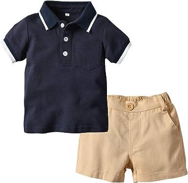 Ropa De Niño Conjunto De 2 Piezas 0-3 Años Camiseta para Niños Pantalones Cortos Camiseta Polo Tops Pantalones Cortos: Amazon.es: Ropa y accesorios