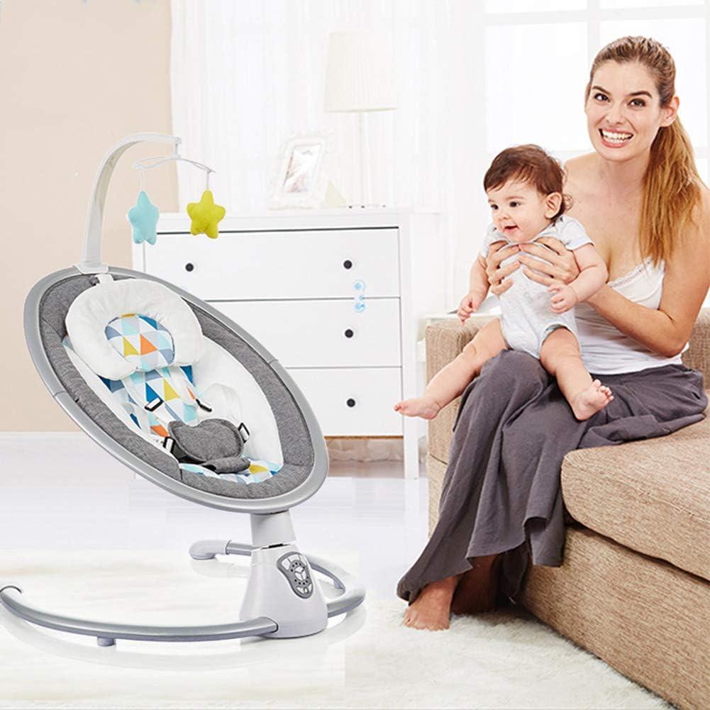 AIBAB Baby Schaukelstuhl Neugeborene Musik-Stretch-Stuhl Baby Elektrischer Leibw/ächter Schaukelstuhl Mit Fernbedienung//Geformtem Kissen//Bluetooth//Moskitonetz Wiegespielzeug