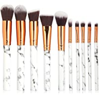 TOONEV Makeup Brushes Set, 10 Pieces Professional Beauty Marble Makeup Brushes Set Cosmetic Foundation Brush Powder…