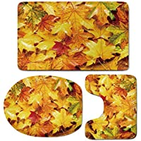 3 Piece Bath Mat Rug Set,Fall-Decor,Bathroom Non-Slip Floor Mat,Wet-Fall-Leaves-Rainy-Weather-Maple-Tree-Nature-in-November-Change-of-Seasons-Decorative,Pedestal Rug + Lid Toilet Cover + Bath Mat,Mult