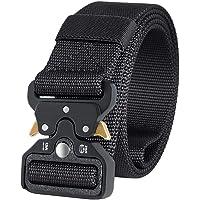 Charlemain Cinturón táctico Cinturón de Cobra Cinturón Nylon de Servicio Pesado Hebilla de Metal de liberación rápida para Hombres y Mujeres-Negro