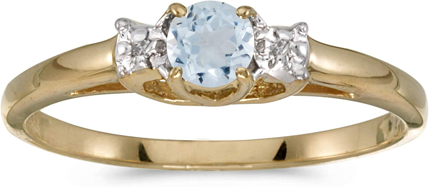 FB Jewels 10k Yellow Gold Genuine Birthstone Solitaire Round Gemstone And Diamond Wedding Engagement Statement Ring