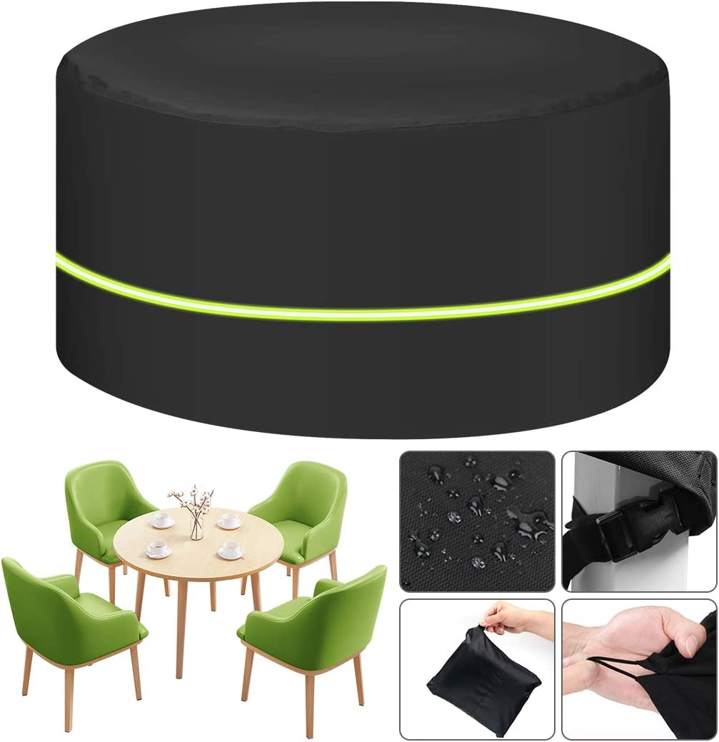 Garden Furniture Cover, [600D 125 x 74cm] Waterproof Round Garden Table Cover with Reflective Strap, Patio Furniture Cover Heavy Duty Oxford Fabric Rattan Furniture Cover for Windproof and Anti-UV