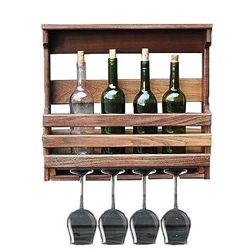 Estante del vino Montado En La Pared Madera Maciza Multifuncional Portavasos Porta Botellas: Amazon.es: Hogar