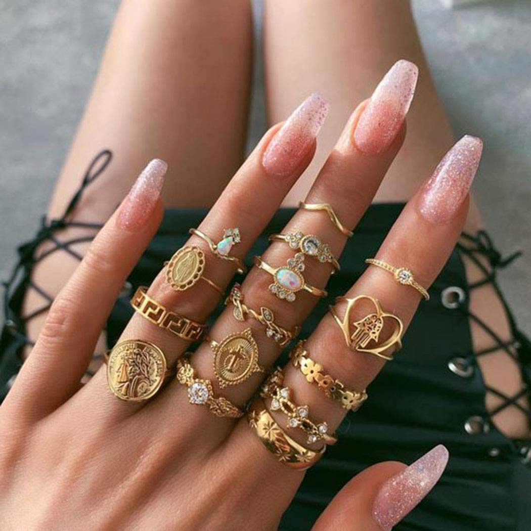 Pack of 15 Twinklede Boho Finger Ring Set Gold Rhinestone Joint Knuckle Rings Stackable Hollow Carved Ring for Women and Girls