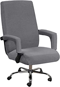 Stretch Office Chair Seat Covers with Armrest Sleeve, Jacquard Pattern High Back Computer Chair Slipcovers Removable Stretchable Covers Armchair Cover Slipcover for Universal Rotating Boss Chair