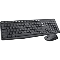 Logitech MK235 Wireless Keyboard and Mouse Combo for Windows, 2.4 GHz Wireless with Unifying USB-Receiver, Wireless Mouse, 15 FN Keys, 3-Year Battery Life, PC/Laptop - Grey