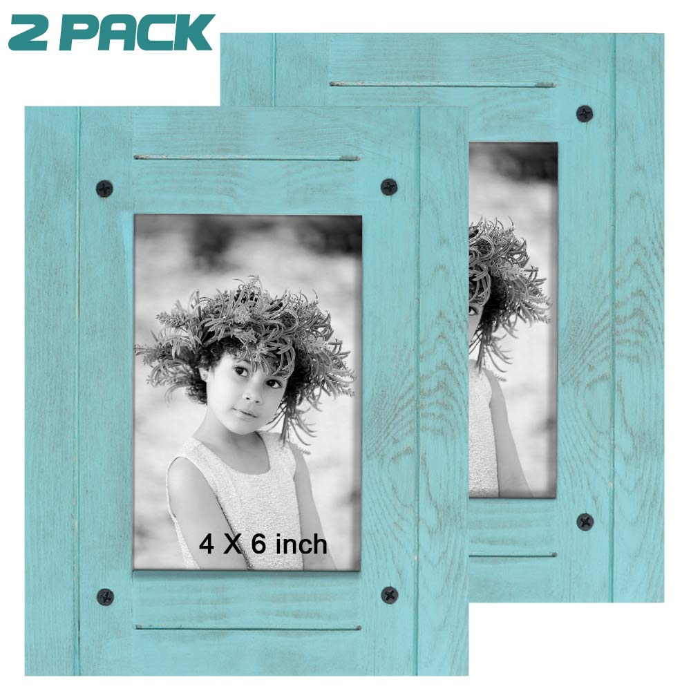 TNELTUEB 2 Pack Turquoise Blue Distressed Wood Frame - Rustic Shabby Chic Frame - Ready to Hang - Ready to Stand - with Self-Stand Easel (Display 4 x 6 inch)