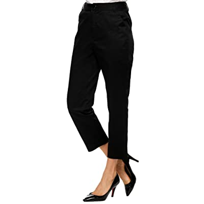 Zeagoo Women Flat Front Solid Relaxed Fit Casual Ankle Pants with Pockets at Women's Clothing store