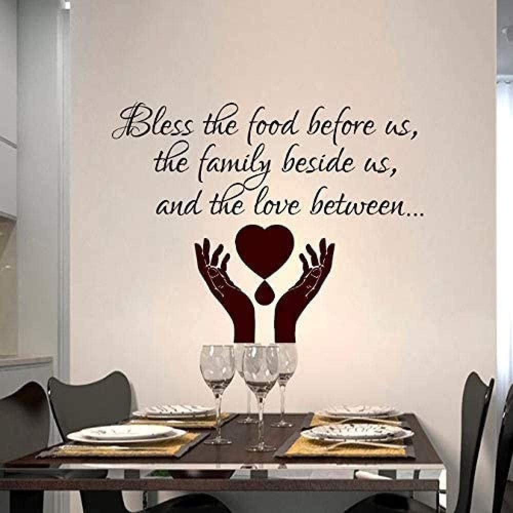 Wall Decals The Food Before Us Dining Room Pray Vinyl Removable Wall Sticker Home Decor Waterproof Decals Wall Decor 59x80cm