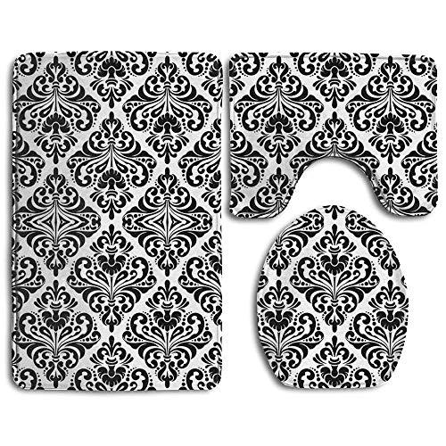 LUOWEITIYU Floral Damask Pattern Flannel Bathroom Carpet Rug Non-Slip 3 Piece Toilet