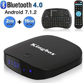 Kingbox K2 Android 7.1 TV Box 2GB+16GB Bluetooth 4.0 Soporte 4K (60Hz) Full HDMI/H.265/2.4GHz WiFi Android Smart TV Box con Mini Teclado: Amazon.es: Electrónica