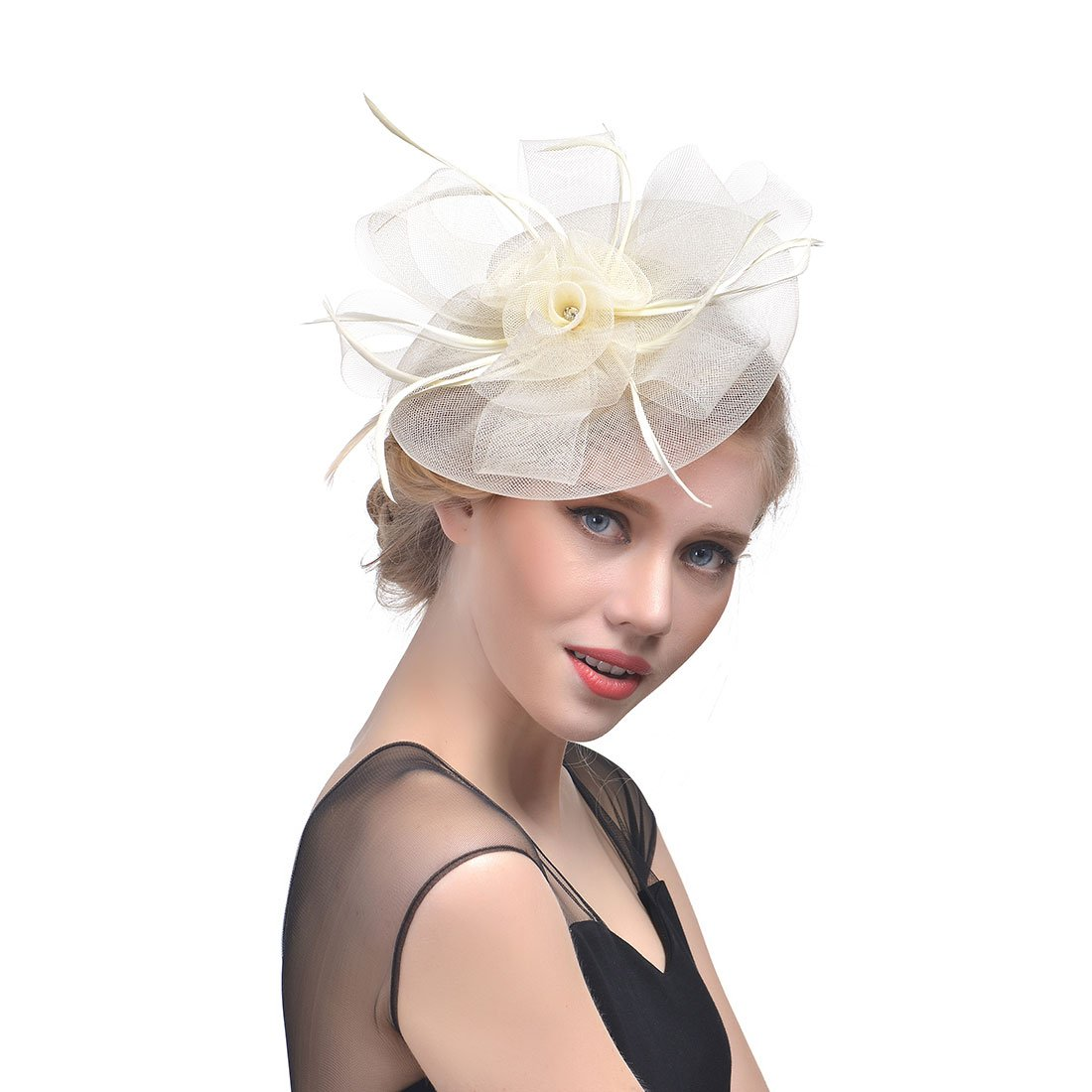 Women's Handmade Fascinator Cocktail Party Headpiece Feather Top Hat (Beige)