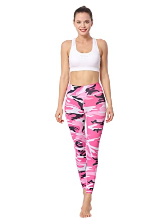 8dbedb1cc6f74 MUMUWU Camouflage Women Yoga Pants Gym Workout Ankle Active Leggings  Buttery Soft Camouflage Pink at Amazon Women's Clothing store: