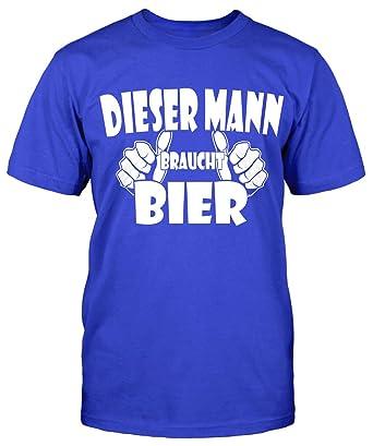 Dieser Mann Braucht Bier T-Shirt Herrentag Fun Shirt Sprüche Sommer Party  Kult: Amazon.de: Bekleidung