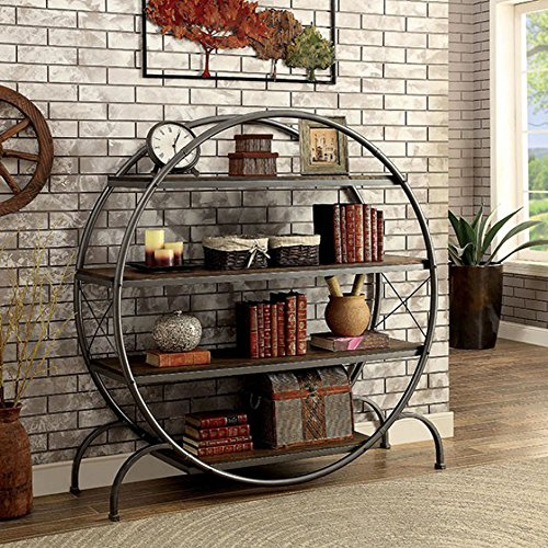 Furniture of America CM-AC520 Sariya Dark Gray Book Display Shelf