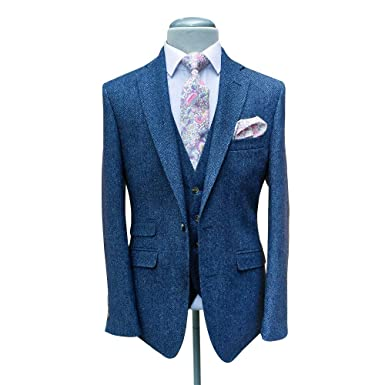 Mens Tweed Herringbone Suits Slim Fit Blue Wool Blend Tuxedos
