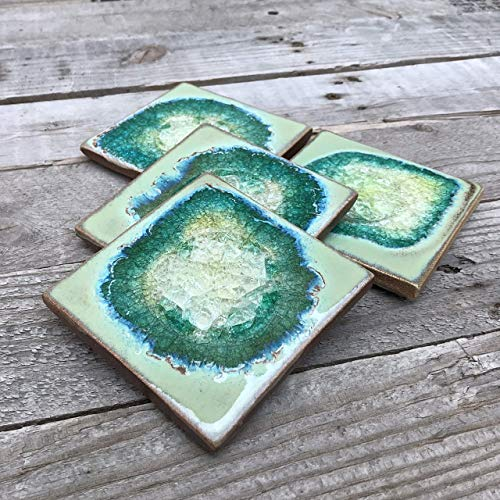 (Geode Crackle Coaster Set of 4 in Textured Turquoise, Geode Coaster, Crackle Coaster, Fused Glass Coaster, Crackle Glass Coaster, Agate Coaster, Ceramic Coaster, Dock 6 Pottery Coaster)
