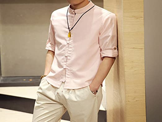 ae12958f2 Donald Trump Favocent Men Linen Shirts Long Sleeve Chinese Style Mandarin  Collar Traditional Kung Fu Tang Casual Social Shirt Brand Clothing:  Amazon.co.uk: ...