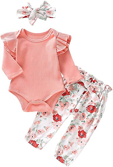 UK 3Pcs Newborn Toddler Baby Girls Flower Top Romper Long Pants Outfits Clothes