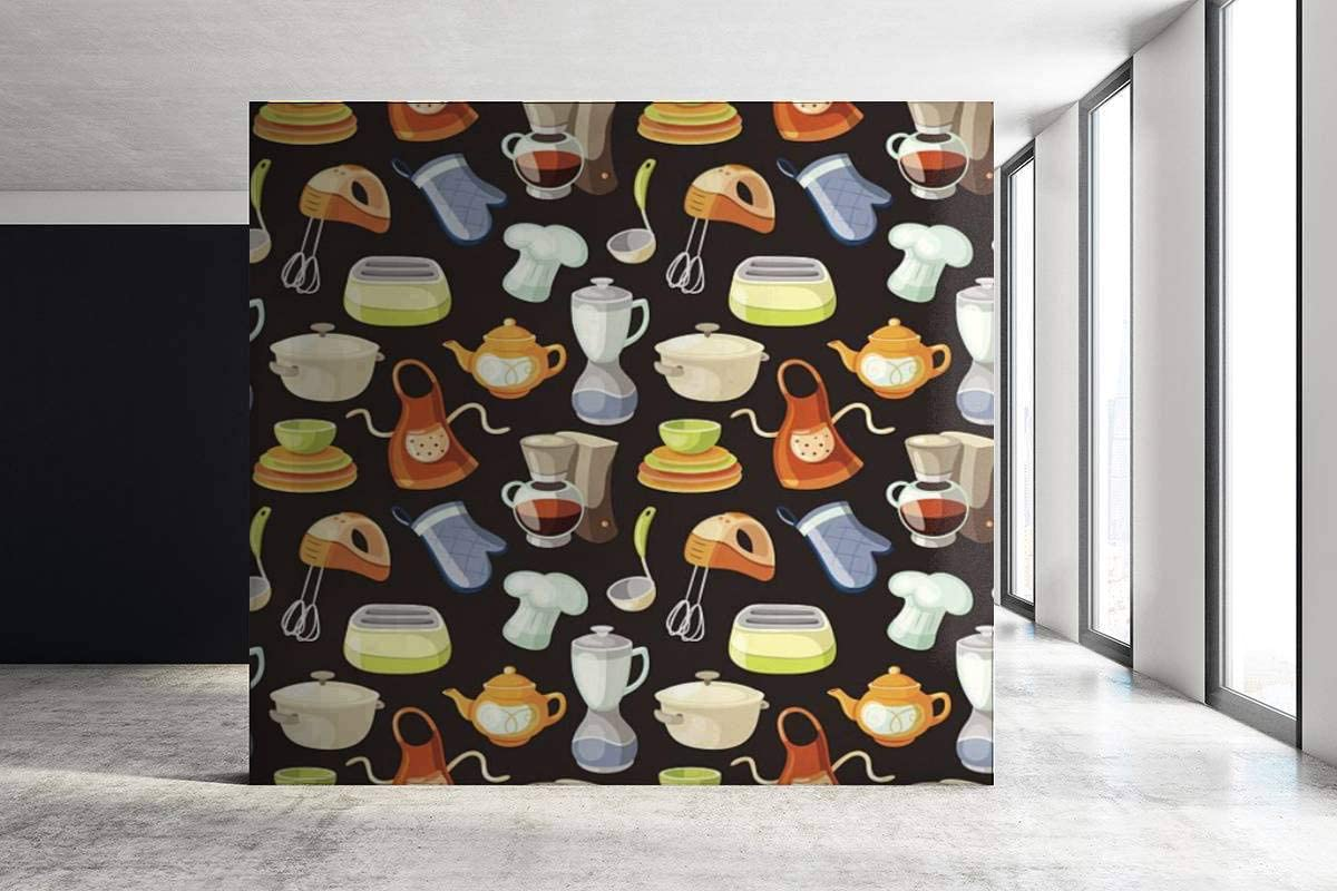 "Mural Wallpaper Seamless Pattern with Kitchen Tools and Cooking Icons Pot Seamless Mural Poster Art Design Print Photo Illustration Wall Decor Peel & Stick PVC Wallpaper - 140"" x 98"""